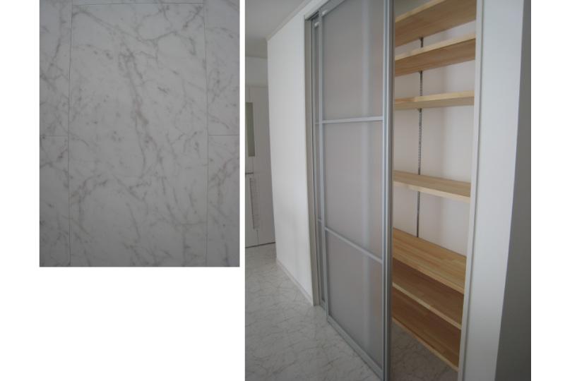 2階キッチン収納と床